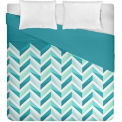 Zigzag pattern in blue tones Duvet Cover Double Side (King Size)