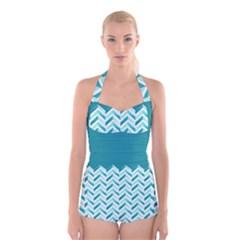 Zigzag pattern in blue tones Boyleg Halter Swimsuit