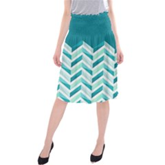 Zigzag pattern in blue tones Midi Beach Skirt