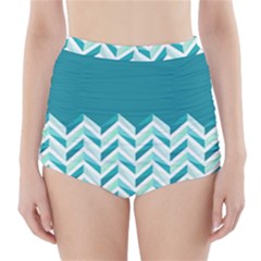 Zigzag pattern in blue tones High-Waisted Bikini Bottoms