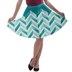 Zigzag pattern in blue tones A-line Skater Skirt
