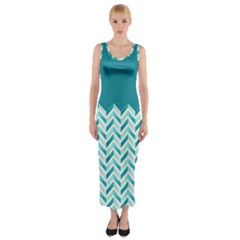 Zigzag pattern in blue tones Fitted Maxi Dress
