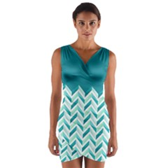 Zigzag pattern in blue tones Wrap Front Bodycon Dress