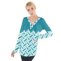 Zigzag pattern in blue tones Women s Tie Up Tee