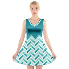 Zigzag pattern in blue tones V-Neck Sleeveless Skater Dress