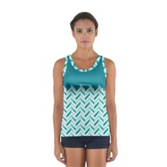 Zigzag pattern in blue tones Women s Sport Tank Top