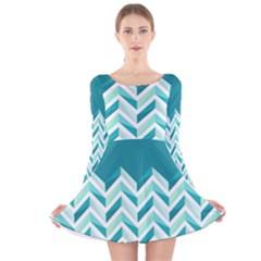 Zigzag pattern in blue tones Long Sleeve Velvet Skater Dress