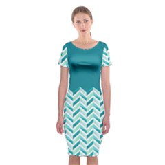 Zigzag Pattern In Blue Tones Classic Short Sleeve Midi Dress