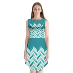 Zigzag pattern in blue tones Sleeveless Chiffon Dress