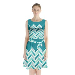 Zigzag Pattern In Blue Tones Sleeveless Chiffon Waist Tie Dress