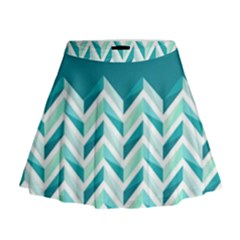 Zigzag Pattern In Blue Tones Mini Flare Skirt