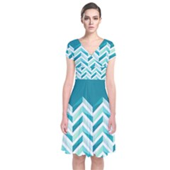 Zigzag Pattern In Blue Tones Short Sleeve Front Wrap Dress