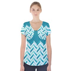 Zigzag Pattern In Blue Tones Short Sleeve Front Detail Top