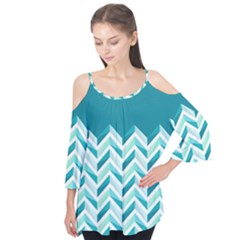 Zigzag Pattern In Blue Tones Flutter Tees