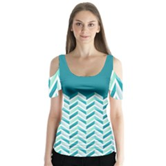 Zigzag Pattern In Blue Tones Butterfly Sleeve Cutout Tee