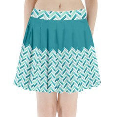 Zigzag Pattern In Blue Tones Pleated Mini Skirt