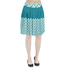 Zigzag Pattern In Blue Tones Pleated Skirt