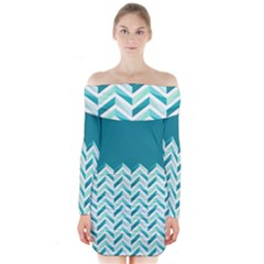 Zigzag pattern in blue tones Long Sleeve Off Shoulder Dress