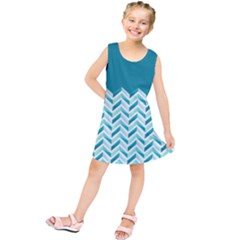 Zigzag Pattern In Blue Tones Kids  Tunic Dress