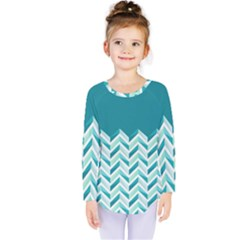 Zigzag Pattern In Blue Tones Kids  Long Sleeve Tee
