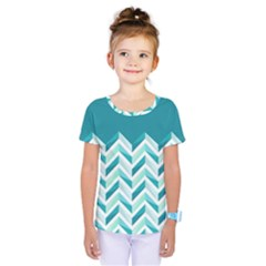 Zigzag Pattern In Blue Tones Kids  One Piece Tee