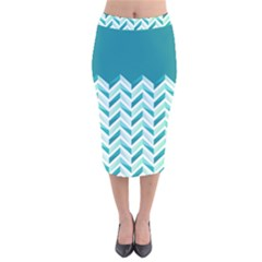 Zigzag Pattern In Blue Tones Velvet Midi Pencil Skirt