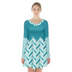 Zigzag Pattern In Blue Tones Long Sleeve Velvet V Neck Dress