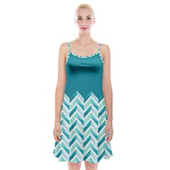Zigzag pattern in blue tones Spaghetti Strap Velvet Dress