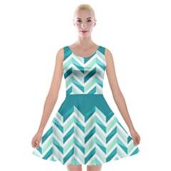 Zigzag Pattern In Blue Tones Velvet Skater Dress