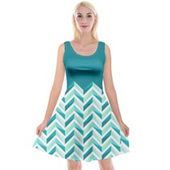 Zigzag pattern in blue tones Reversible Velvet Sleeveless Dress