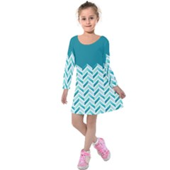 Zigzag Pattern In Blue Tones Kids  Long Sleeve Velvet Dress