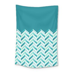 Zigzag Pattern In Blue Tones Small Tapestry