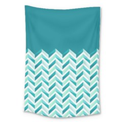 Zigzag pattern in blue tones Large Tapestry