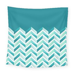 Zigzag Pattern In Blue Tones Square Tapestry (large)