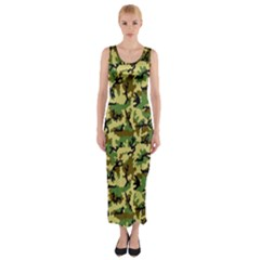 Camo Woodland Fitted Maxi Dress