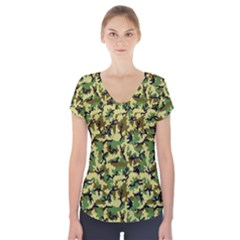 Camo Woodland Short Sleeve Front Detail Top