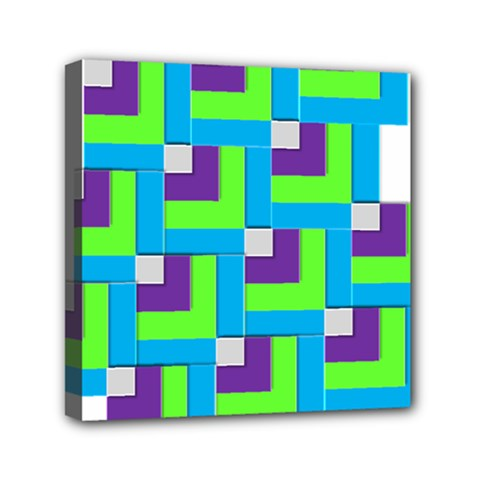 Geometric 3d Mosaic Bold Vibrant Mini Canvas 6  X 6