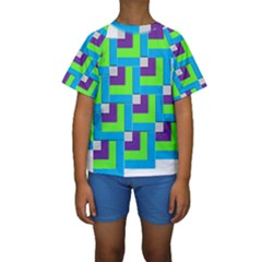 Geometric 3d Mosaic Bold Vibrant Kids  Short Sleeve Swimwear