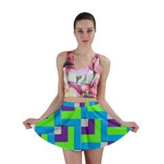 Geometric 3d Mosaic Bold Vibrant Mini Skirt