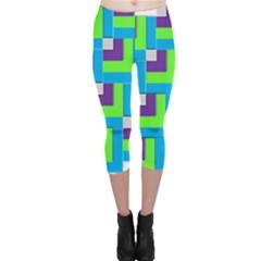 Geometric 3d Mosaic Bold Vibrant Capri Leggings