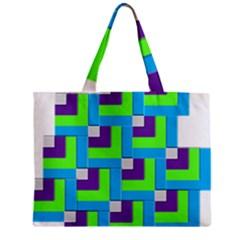 Geometric 3d Mosaic Bold Vibrant Zipper Mini Tote Bag