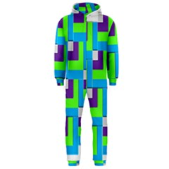 Geometric 3d Mosaic Bold Vibrant Hooded Jumpsuit (men)