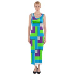 Geometric 3d Mosaic Bold Vibrant Fitted Maxi Dress