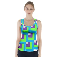Geometric 3d Mosaic Bold Vibrant Racer Back Sports Top