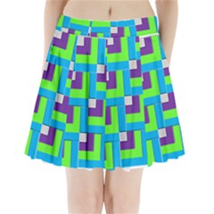 Geometric 3d Mosaic Bold Vibrant Pleated Mini Skirt