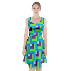 Geometric 3d Mosaic Bold Vibrant Racerback Midi Dress