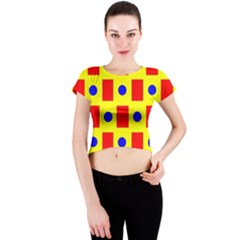 Pattern Design Backdrop Crew Neck Crop Top