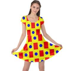 Pattern Design Backdrop Cap Sleeve Dresses