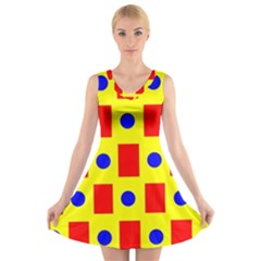 Pattern Design Backdrop V-Neck Sleeveless Skater Dress