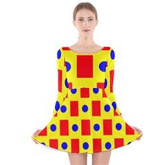 Pattern Design Backdrop Long Sleeve Velvet Skater Dress